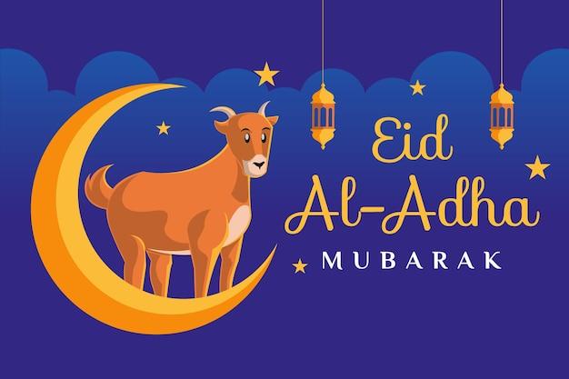 Eid al adha mubarak-tekst met een geit op een maanillustratie op donkerblauwe achtergrond