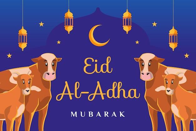 Eid al adha mubarak-tekst met een koe en een geit aan elke kantillustratie op donkerblauwe achtergrond