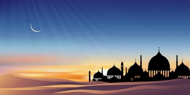 Eid al adha mubarak wenskaart achtergrond met silhouet koepel moskeeën