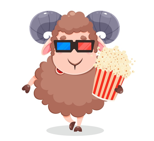 Eid al adha mubarak wenskaart grappige karakter ram met popcorn