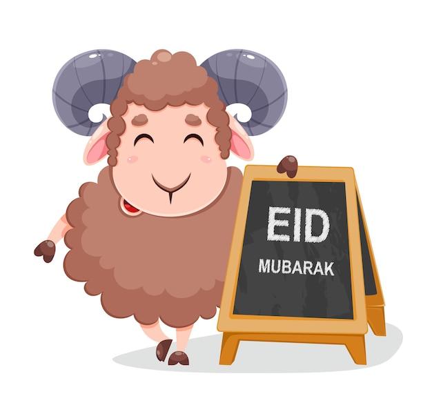 Eid al adha mubarak-wenskaart met cartoonschapen voor de viering van het traditionele moslimfestival