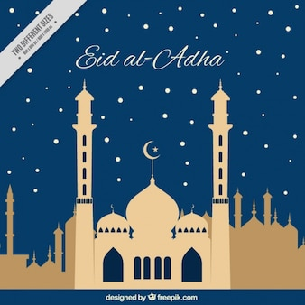 Eid al-adha nacht achtergrond met moskee