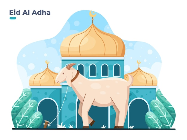 Eid al adha platte vectorillustratie met geit of schaap dier aan de voorkant moskee selamat hari raya idul adha betekent gelukkige eid aladha ook wel offer festival genoemd