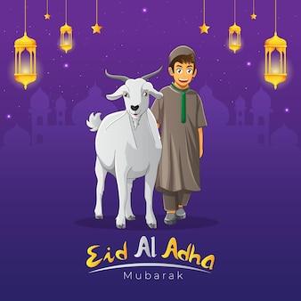 Eid al adha-wenskaart met een kind dat met zijn geit loopt