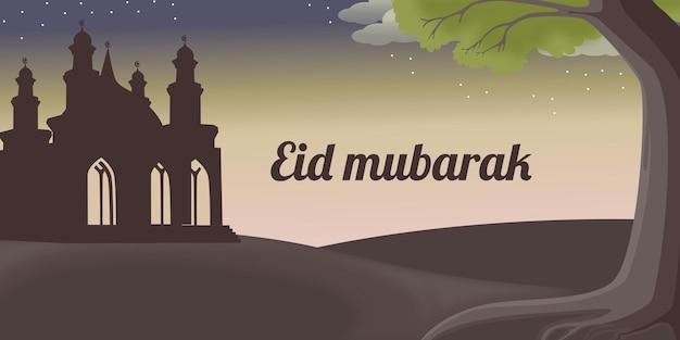 Eid al fitr achtergrond met hand getrokken moskee van moslimmensen en islamitische ramadan ornament