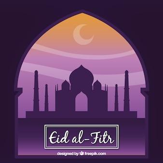 Eid-al fitr achtergrond van het venster met moskee