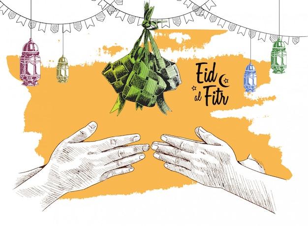Eid al fitr free hand drawing schets van ketupat