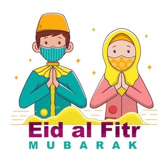 Eid al fitr karakter mensen met masker
