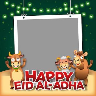 Eid aladha fotosjabloon met verschillende mascottes van boerderijdieren, zoals een koe, een schaap en een kameel