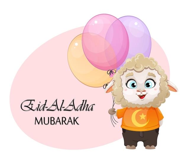 Eid aladha mubarak grappige cartoon karakter ram met ballonnen kurban bayrami