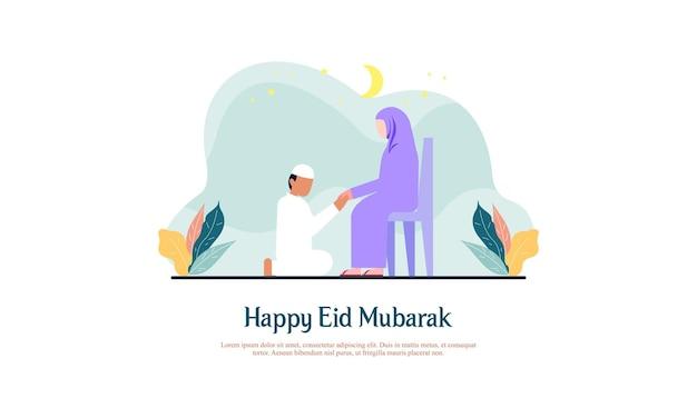 Eid alfitr-families bezoeken elkaars traditie van eid-illustraties