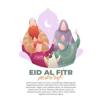 Eid illustratie concept met liefde van familie