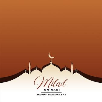 Eid milad un nabi festival kaart met moskee
