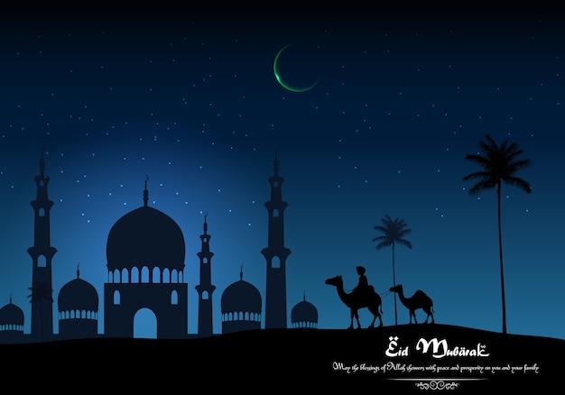 Eid mubarak-achtergrond met arabische berijdende kameel en moskee op nacht