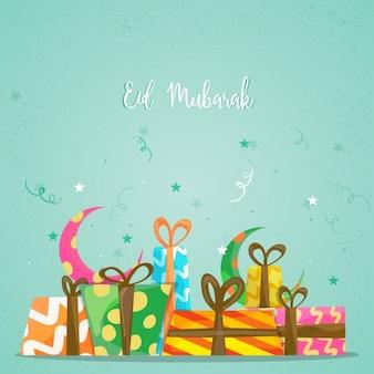 Eid mubarak achtergrond met geschenken