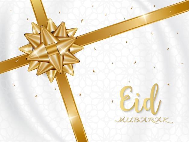 Eid mubarak-achtergrond met gouden giftboog