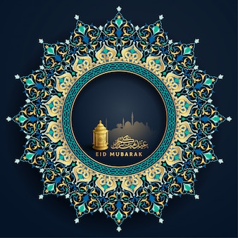 Eid mubarak arabische kalligrafie met traditionele lantaarn en bloemmotief voor groet decoratie achtergrond