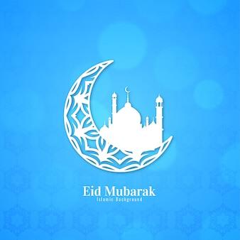 Eid mubarak blauwe achtergrond met halve maan ontwerp