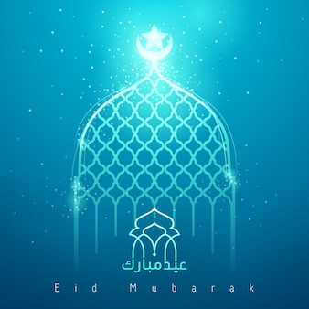 Eid mubarak blauwe gloed moskee islamitische groet