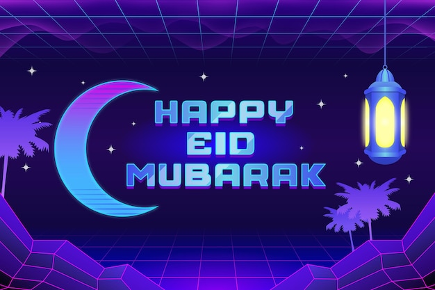 Eid mubarak card retro 80s synthwave