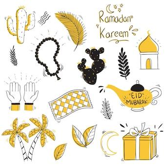 Eid mubarak-collectie met doodle of handgetekende stijl