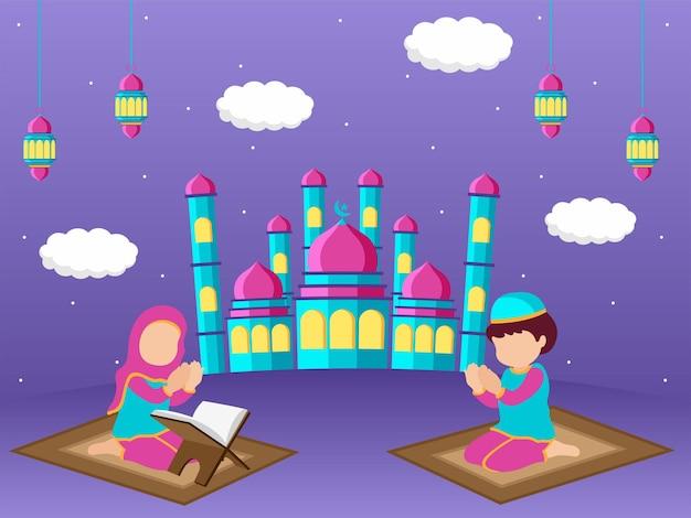 Eid mubarak concept illustratie premium vector
