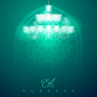 Eid mubarak-de achtergrond van de groetkaart