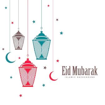 Eid mubarak decoratieve lampen vlakke achtergrond