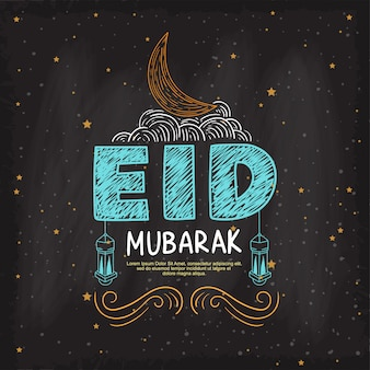 Eid mubarak die mooie van letters voorziende hand begroeten die op de schoolbordachtergrond trekken
