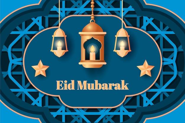 Eid mubarak feest achtergrond met een papieren stijl