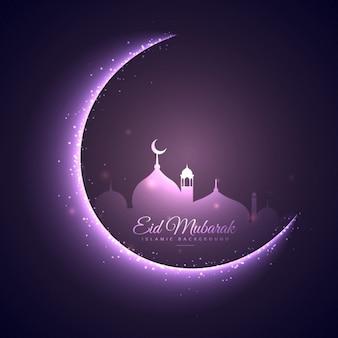 Eid mubarak festival achtergrond in paarse kleur