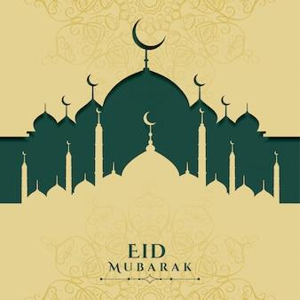 Eid mubarak festival islamitische groet ontwerp achtergrond
