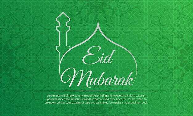 Eid mubarak festival viering groene achtergrond met geweldige bloem