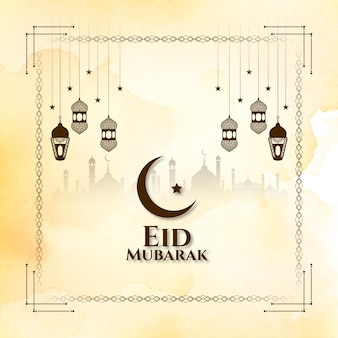 Eid mubarak festival wenskaart met lantaarns