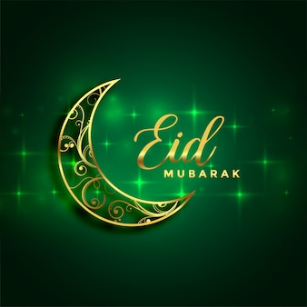 Eid mubarak gouden maan en fonkelt groene achtergrond