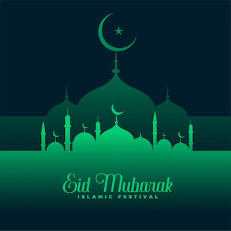 Eid mubarak groene moskee ontwerp