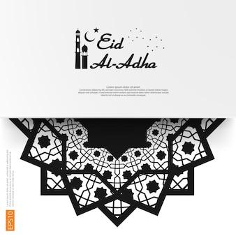 Eid mubarak groetontwerp met abstract mandalaelement