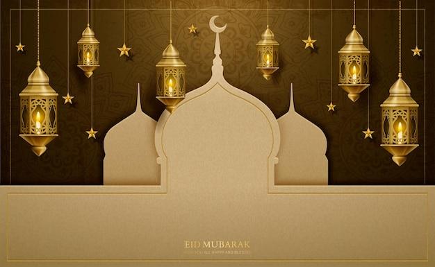 Eid mubarak-groetontwerp met moskee van papierkunst en hangende lantaarns