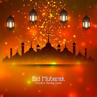 Eid mubarak islamic festival bright glitters background
