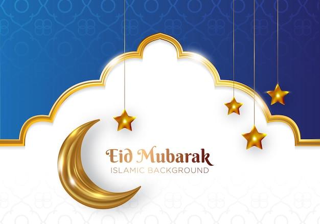 Eid mubarak islamitische achtergrond met gouden wassende maan en ster