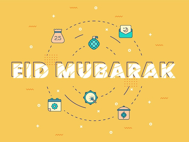 Eid mubarak-letters met eid mubarak-elementen