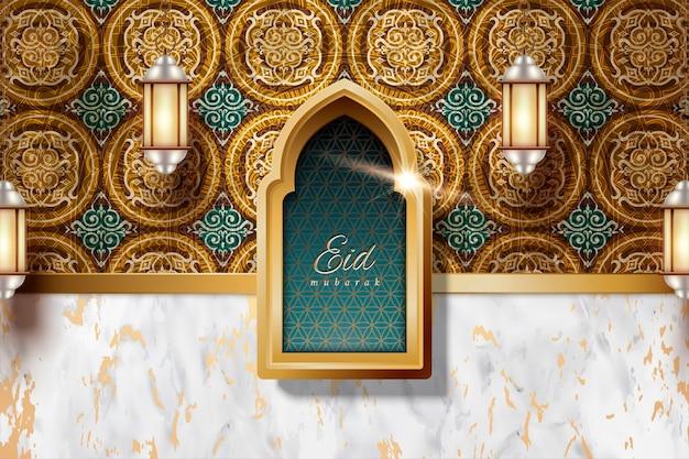 Eid mubarak met arabesque decoraties en marmeren steen textuur achtergrond, lantaarns hangen in de lucht