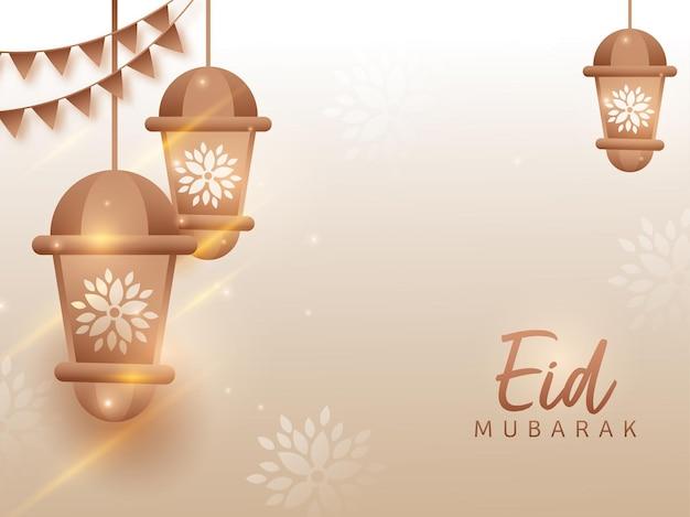 Eid mubarak met bronzen lantaarns hangen en vlaggen versierd