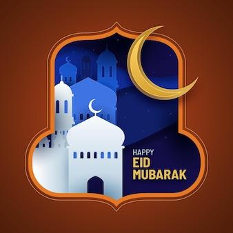 Eid mubarak met maan en moskee in papierstijl