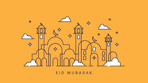 Eid mubarak met moskee, moskee van lijntekeningen, islamitische begroeting achtergrond