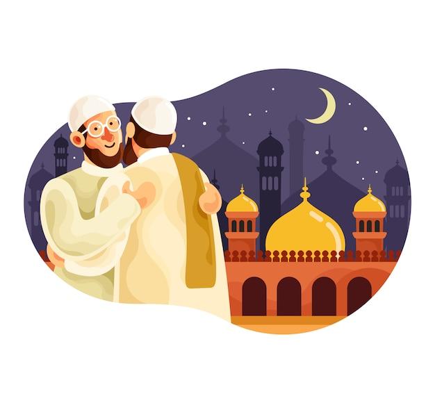 Eid mubarak met moslimmannen die elkaar knuffelen