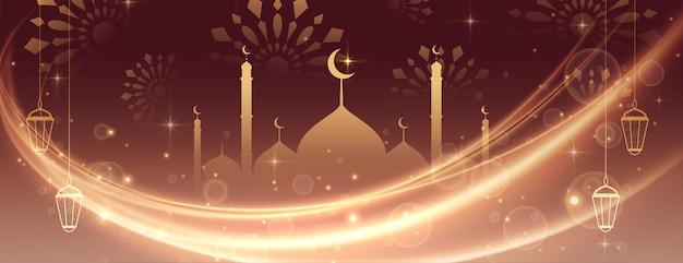 Eid mubarak mooi licht bannerontwerp Gratis Vector