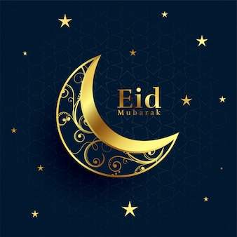 Eid mubarak mooie gouden decoratieve maanachtergrond