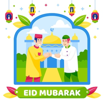 Eid mubarak moslim karakters begroeting