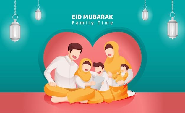 Eid mubarak moslim viering familie samenkomen illustratie